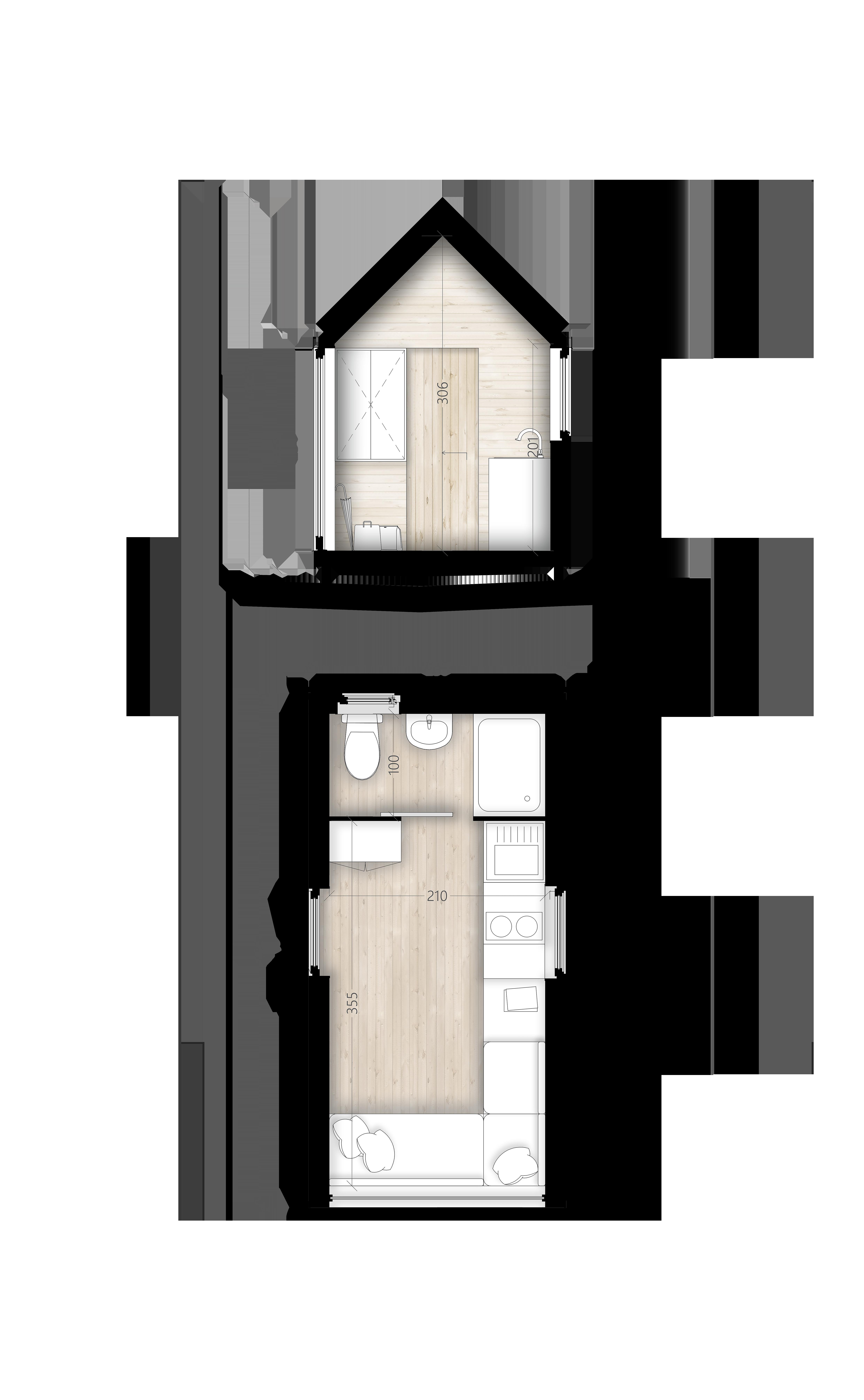 D'woch 12m² - Plans et coupes texturés